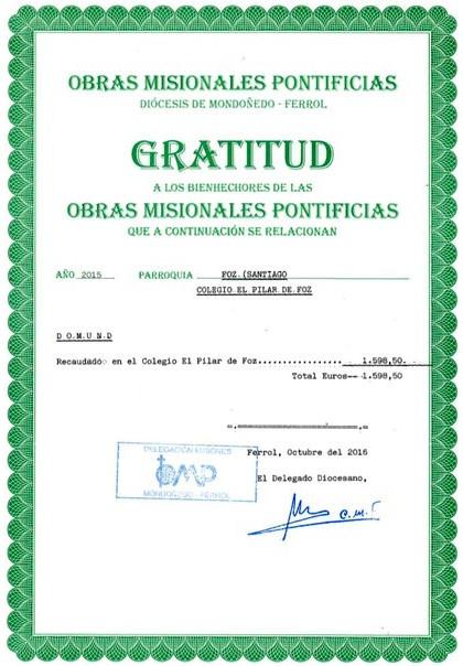 CERTIFICADO DE GRATITUDE DOMUND 2015